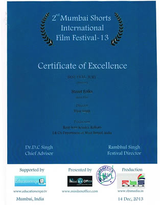 certificate for the award winning diploma film Street Folks